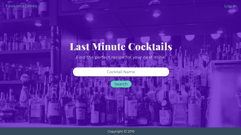 A screenshot of the cocktail generator.